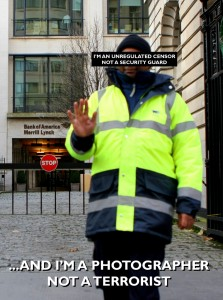 Security guard preventing photography at Merrill Lynch
