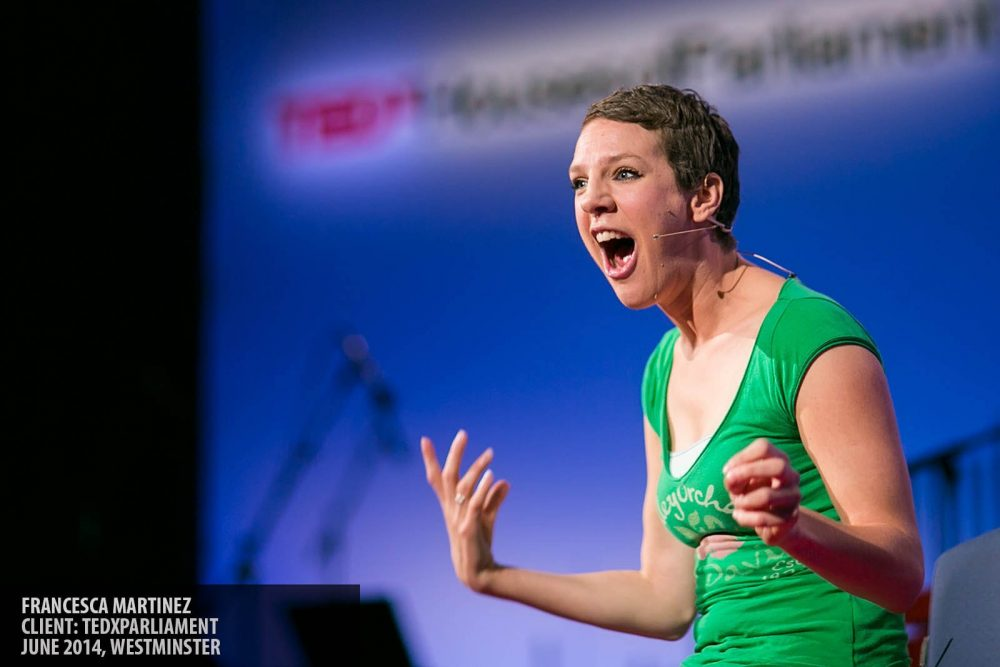 Francesca Martinez speaking at TEDxParliament photography copyright Paul Clarke