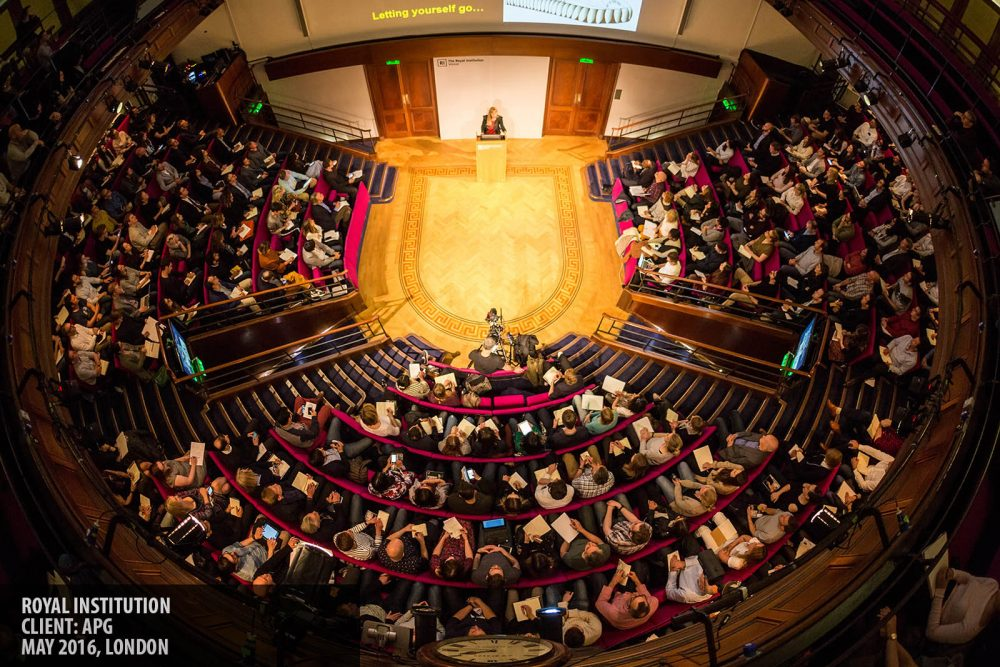 Overhead view of the Royal Institution auditorium photography copyright Paul Clarke