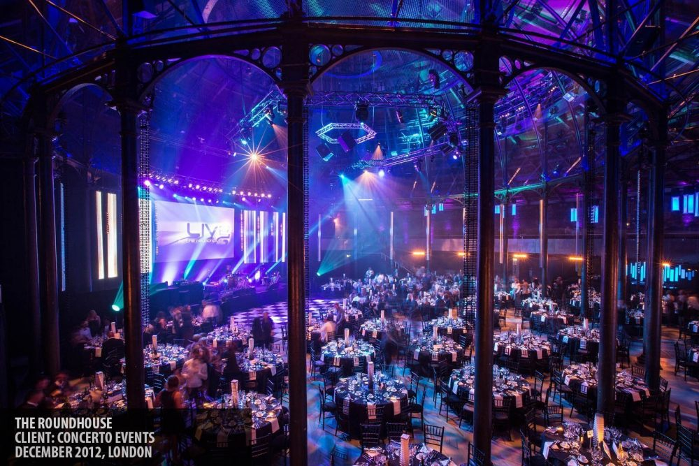 Dinner event at The Roundhouse, Camden, London photography copyright Paul Clarke